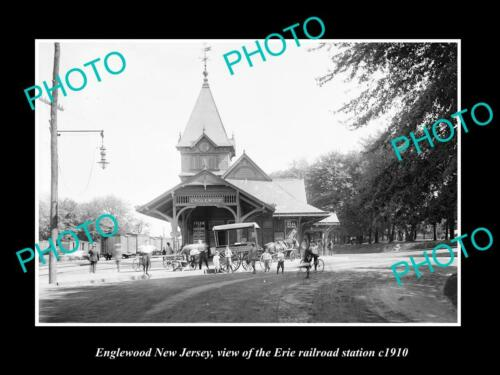 OLD 6 X 4 HISTORIC PHOTO OF ENGLEWOOD NEW JERSEY, ERIE RAILROAD STATION c1910 2