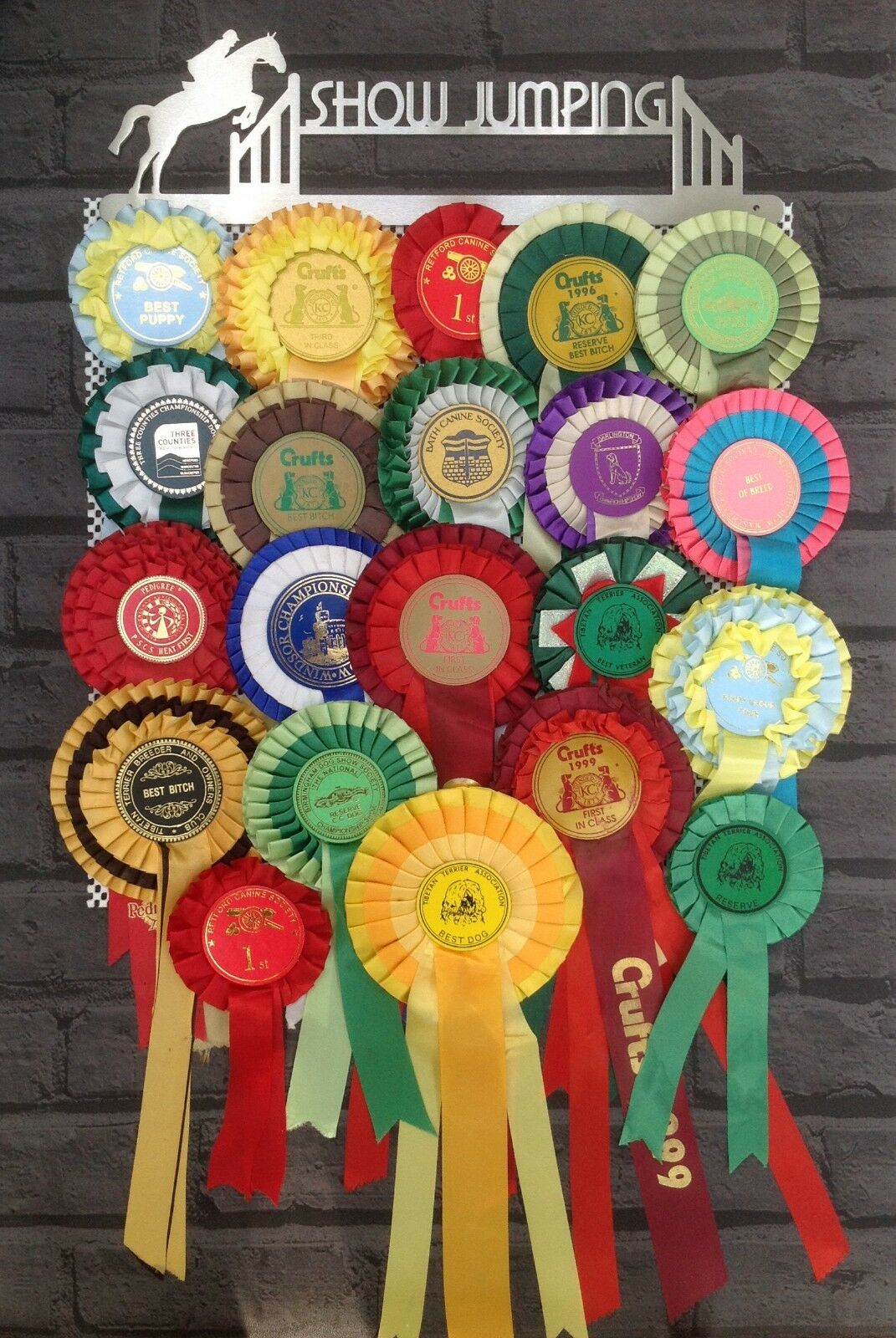 Horse Show Jumping Rosette Stainless Steel Display