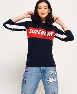Neuer Damen Superdry Skater Hoodie mit Farbblock-Design Hurricane Dunkelblau