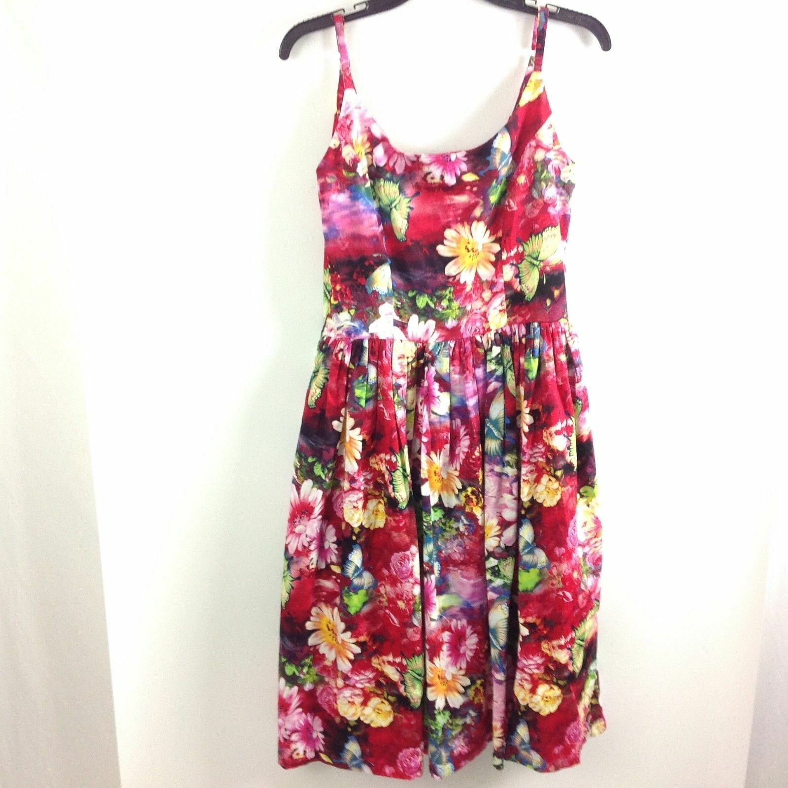 Tatyana Woherren Dress Retro 50s Bettie Paige Größe M Sleeveless Floral Pin Up
