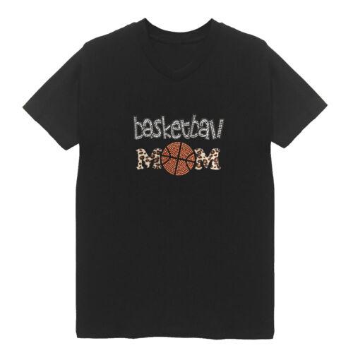 Leopard Basketball Mom Women/'s V Neck T-Shirts Plus Size Unisex Handmade Sports