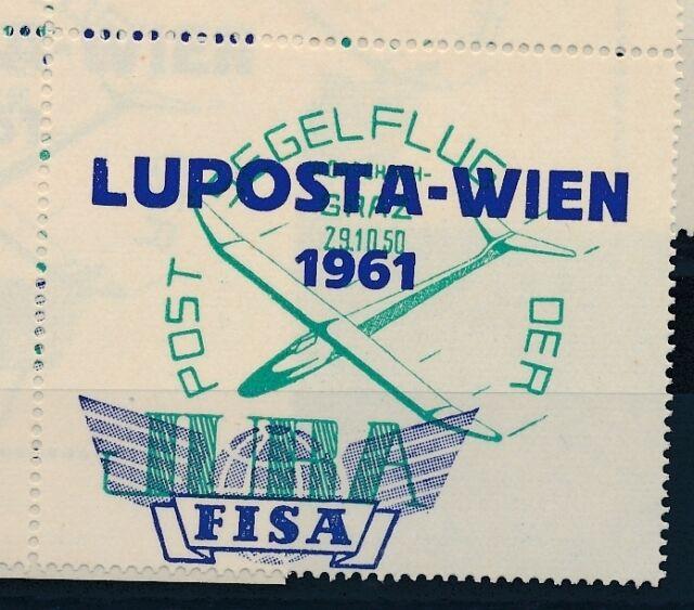 76236)  Luftpost Vignette Österreich LUPOSTA WIEN 1961, Glider R!