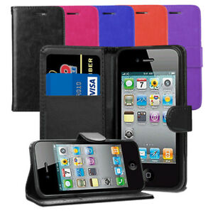 For-Apple-iPhone-4-4S-Case-Leather-Wallet-Flip-Case-Cover-Screen-Protector