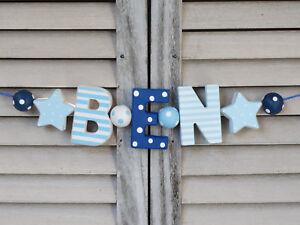 подробные сведения о Ben Namenskette Kinderzimmer Holzbuchstaben Deko Junge Taufe Baby Name Shabby
