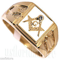 Square White Masonic Mason Logo Gold Finish Mens Ring Size 12-14