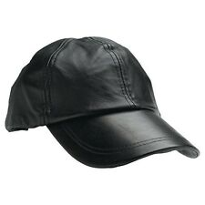 item 6 Solid Genuine Black Leather Adjustable Motorcycle Biker Baseball Cap  Mens Womens -Solid Genuine Black Leather Adjustable Motorcycle Biker  Baseball ... 0c3b644a912