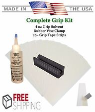 Golf Club GRIP KIT 15 Tape Strips (2x10), Solvent, Vise Clamp with Instructions
