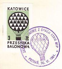 POLAND 1964.VI.20 Ballon KATOWICE, Mail Cat.39c Start POZNAN -CZERWONAK landing