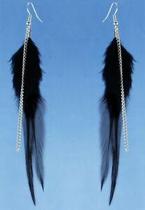 F3509-fashion-black-Feather-chain-cute-dangle-earrings-noble-women-jewelry-hot