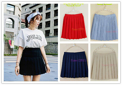 Japan High School Girl Solid Pleated Mini Skirt Cheerleader Sailor Cosplay Dress