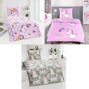 Details Zu 100 Baumwolle Fein Biber Bettwäsche Mädchen Einhorn Prinzessin Pony 135x200