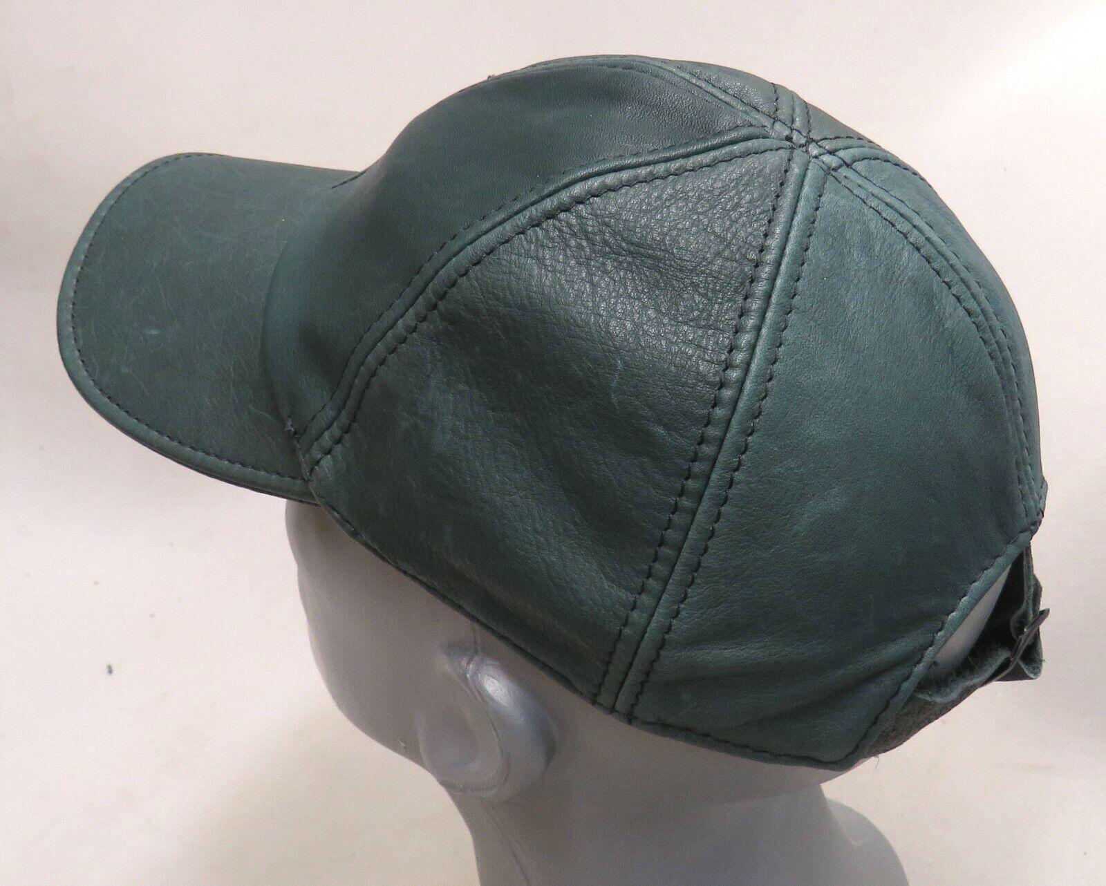 1A SATTLERQUALITÄT Cap LEDER Kappe NEU Lederkappe FARBE: Grün Baseballkappe TOP#