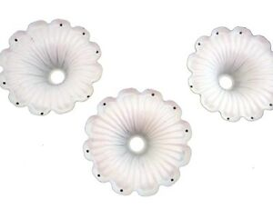 "Lot of 3 Flower cup Bobeche with 8 pin holes for hanging prisms 2 3/4"" dia"