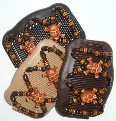 "African Butterfly Style Angel Wings Hair Clips 4x3.5/"" SKULL /& CROSSBONE MS79"