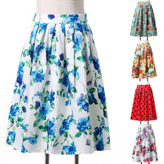 FLORAL high waist Full Circle Skirt Midi Vintage Plus Size Prom Dress