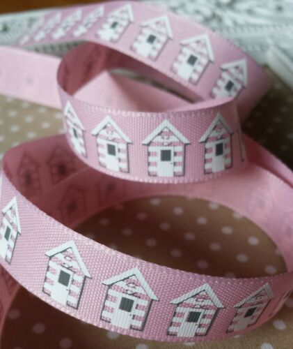 Pink UK Seller. 15mm Seaside Beach huts Berisfords Ribbon Craft Hair bow