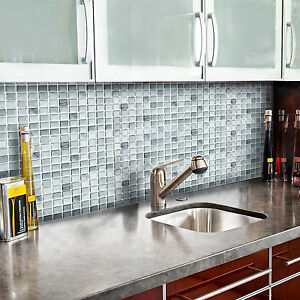 self adhesive wall tiles peel and stick backsplash kitchen bathroom gray silver ebay. Black Bedroom Furniture Sets. Home Design Ideas