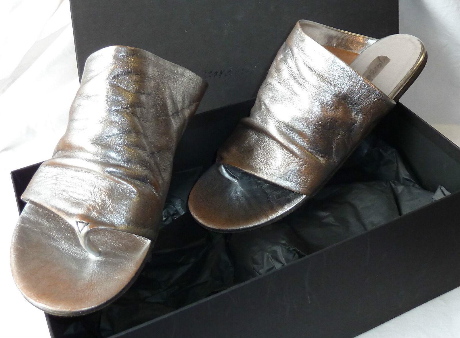 ❌ MARSèLL Gr.37/38, Marsell 'Arsella' Leder Pantoletten, Gr.37/38, MARSèLL silber Metallic 445 2d6789