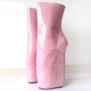 PINK PVC Caviglia Alta il bloccaggio Pony Balletto Stivali Con CINGHIE Alta Guarisce sexy boot