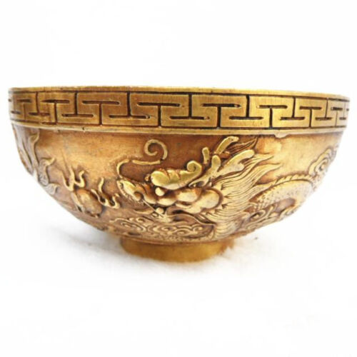 Collection Old Chinese Brass LUCKY Dragon Bowl Fengshui hand-carved  Statues