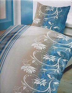 2tlg Microfaser Bettwäsche Elegant Blumen Verziehrt Grau Blau Türkis