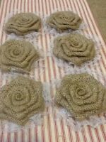 Six Sweet Burlap And Lace Rose Flowers Rustic Wedding Outdoor Table Wreath Decor