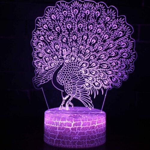 Pfau 3D LED Tischlampe Leselampe Nachtlicht Nachttischlampe 7 Farbe Xmas Gift
