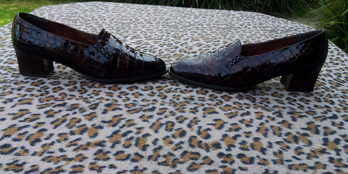 Vintage Pandora Brown Patent Leather crocodile effect  shoes UK size 6.5 EU 39.5