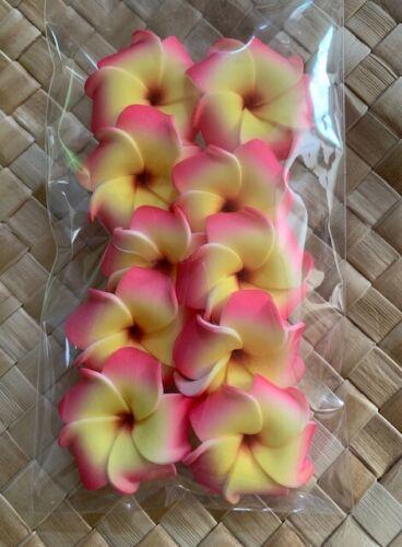 1.25 inch Hawaiian Foam PLUMERIA Flower LOOSE Pink Yellow Set of 10 DIY Crafts