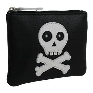 Mens-Boys-Black-Leather-Skull-amp-Cross-Bones-Coin-Purse-by-Mala-Zipped-Hand