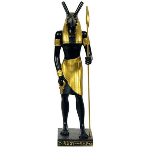 Ägyptischer Gott Seth mit Ankh und Stab 22cm