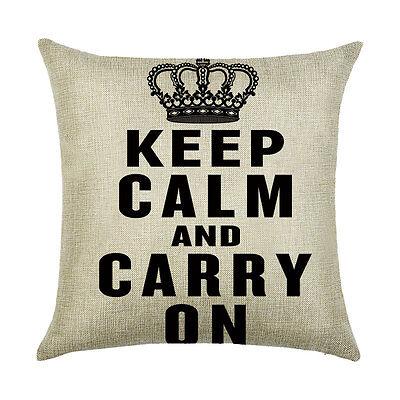Home Cotton Linen Car Sofa Decor Throw Waist Cushion Pillow Case Cover English