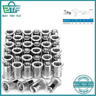 40Pcs 1//4�-20 Rivet Nuts Stainless Steel Threaded Insert Nut Nutsert Rivnuts New