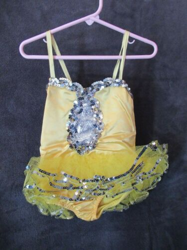 60's Vintage Costume Gallery Yellow Satin Silver S