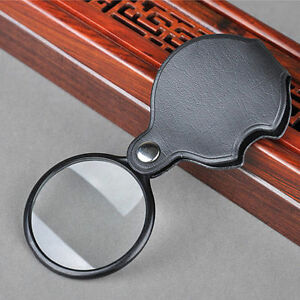 5X-Round-Shape-Foldable-Pocket-Spiegel-Magnifying-Faux-Leather-Glass-Black-Red