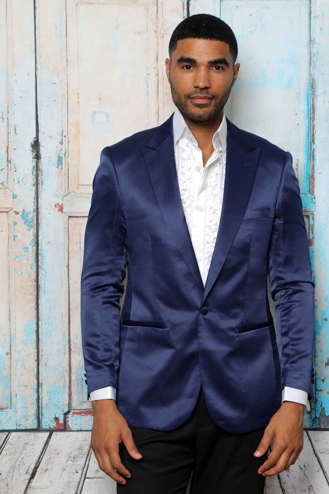 BRAND NEW MENS SIZE XXL NAVY  SATIN SPORT COAT WITH 2 SIDE VENT, MODERN FIT