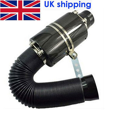 """REAL CARBON FIBER COLD AIR INTAKE SYSTEM 3/"""" INLET FILTER BOX INDUCTION UNIVERSAL"""