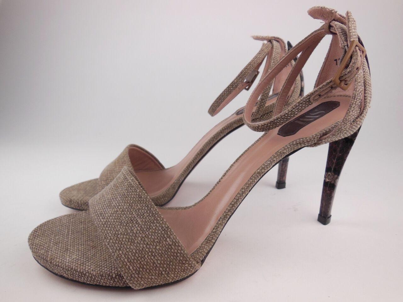 STUART WEITZMAN SW1 Green Fabric Ankle Strap Heeled Sandals Sz 9.5 M