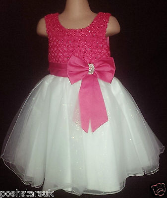 Hot Pink Cerise Christening Flower Girl Bridesmaid Easter Xmas Party Dress 0-24m