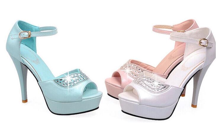 Último gran descuento sandalias de verano mujer talón cuadrado 11 cm plataforma 2.5 cm rosa azul