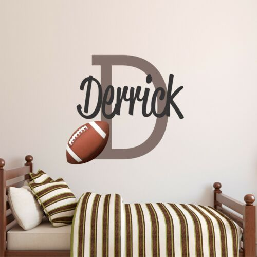 CUSTOM NAME VINYL DECAL WITH REALISTIC FOOTBALL WALL STICKER