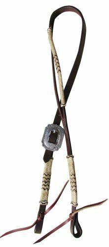 New Silberna Cow Leather Split Ear Western Bosal Hanger Bridle 14070