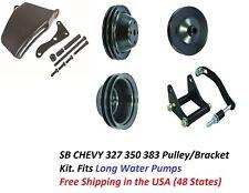 Black Sb Chevy Sbc Complete Lwp Steel Pulley Kit Power Steering New