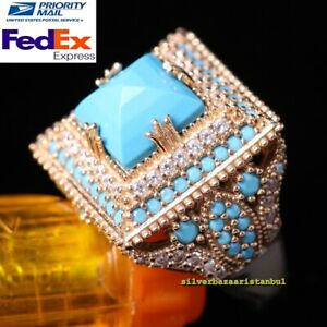 Turkish-Handmade-925-Sterling-Silver-Turquoise-Zircon-Stone-Ladies-Womans-Ring