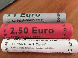 Autriche 2010  3 rouleaux non aveugles 1 2 5 cents Austria Osterreich