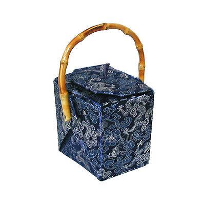Dark Blue Chinese 'Take-Out-Box' Shape Handbag (Dragon Brocade)
