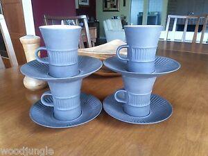 DANISH-MODERN-DENMARK-DANSK-IHQ-DESIGNS-FLAMESTONE-BROWN-COFFEE-CUPS-SAUCERS