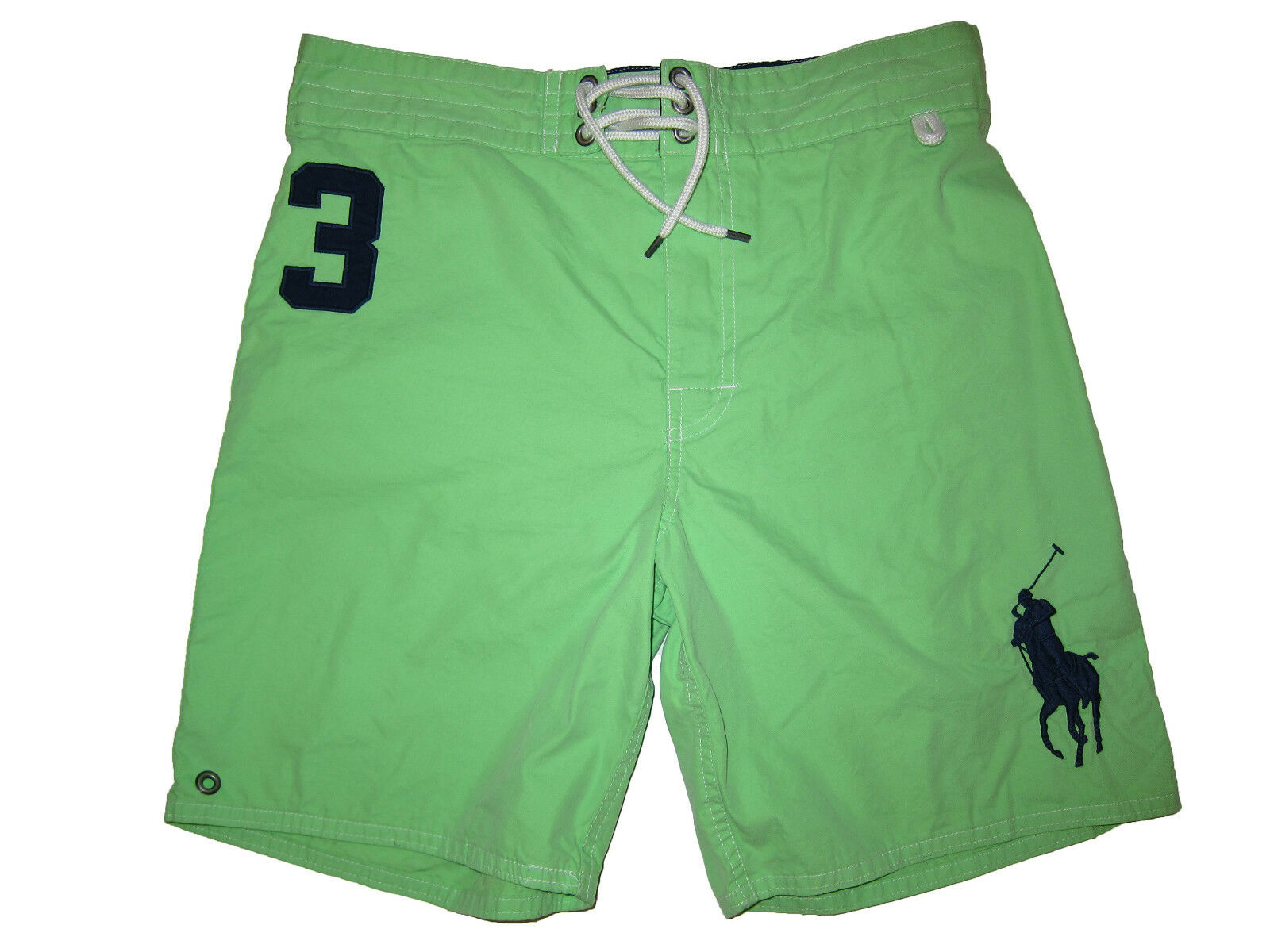 Polo Ralph Lauren Neon Green bluee Big Pony Swim Surf Board Shorts Suit Small