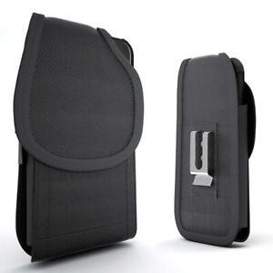 For Motorola Moto E5 Play Cruise Rugged Nylon Pouch Case Belt Clip Holster Black