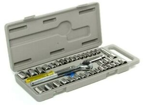 """40 Pc SAE//METRIC 1//4/"""" /& 3//8/"""" DR Socket Set Ratchet Wrench with Case Hand Tools"""